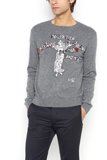 VALENTINO Cardigan with jaquard writing and statue