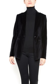 TAGLIATORE velvet single-breasted jacket with central tear