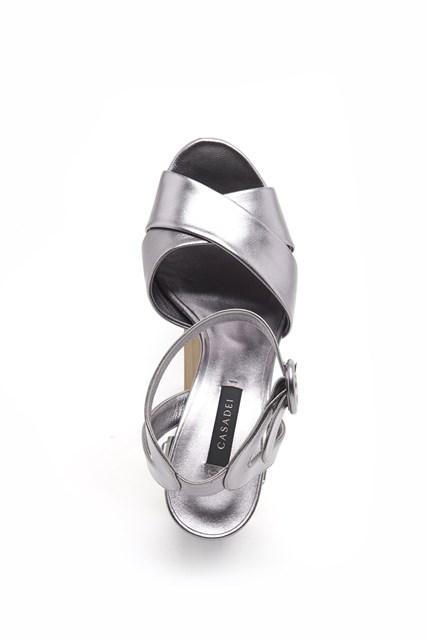 CASADEI metallic calf leather sandals with jewel heel