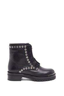 ALEXANDER MCQUEEN calf leather bootie with studs and  rubber sole