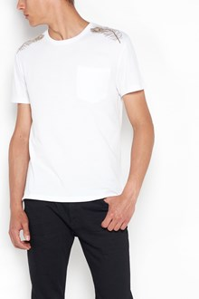 ALEXANDER MCQUEEN T-shirt with pocket and  gold feathers on shoulder