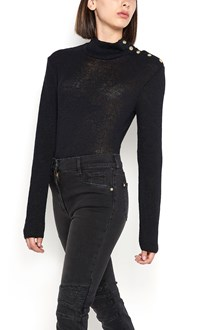 BALMAIN turtleneck sweater with shoulder buttons
