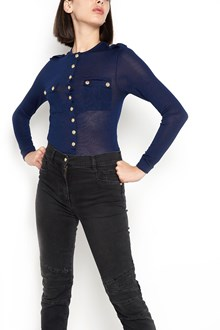 BALMAIN long sleeves sweater with gold buttons and pockets