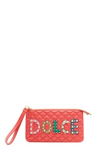 "DOLCE & GABBANA Clutch with writing ""Dolce&Gabbana"" with studs"