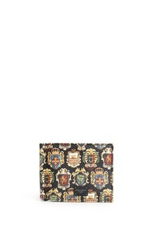 DOLCE & GABBANA Dauphine leather wallet with clip and print all over