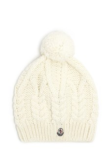 MONCLER Beanie in wool with logo and pon pon