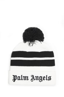 PALM ANGELS Beanie in wool with logo and pon pon