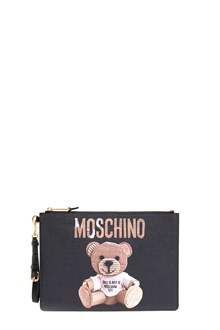 MOSCHINO clutch in leather with logo