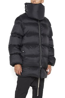 """RICK OWENS """"funnel nacked coat"""" padded jacket with scarf"""