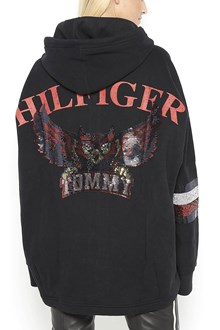 HILFIGER Hooded zipped sweatshirt with front and back sequins embroidery