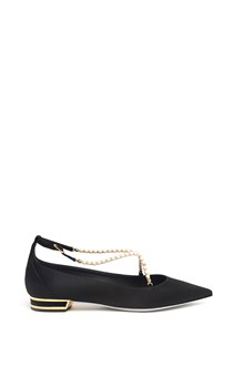 RENÉ CAOVILLA satin ballet flat with pearls