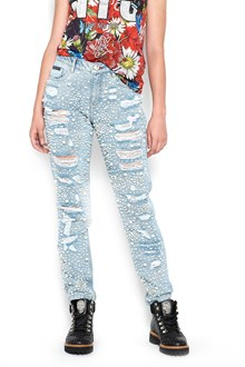 PHILIPP PLEIN boyfriend denim destroyed with pearls
