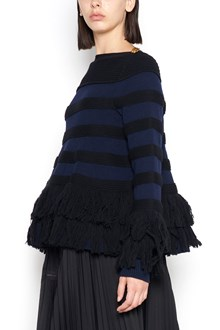 SACAI wool sweater with gold buttons and fringe