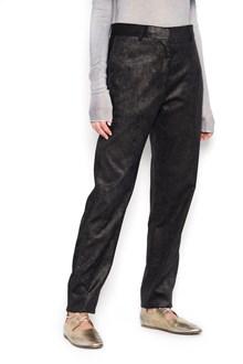 NUDE velvet laminated boyfriend pants