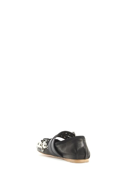 MIU MIU Studded ballet shoes with buckles
