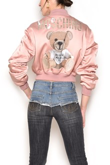 MOSCHINO zipped bomber jacket with 'Teddy Bear' patch in front and in the back