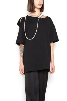 GIACOBINO t-shirt with pearl necklace and lace rouches