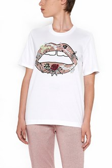 MARKUS LUPFER cotton t-shirt with paillettes lip
