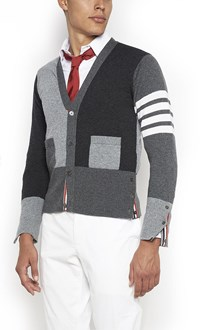 THOM BROWNE Cashmere classic v-neck cardigan with 4 bar white stripes on sleeves