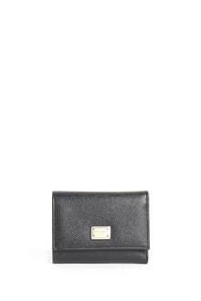 DOLCE & GABBANA Dauphine leather small wallet with button