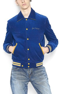 SAINT LAURENT velvet bomber jacket with 'je t'aime' embroidery