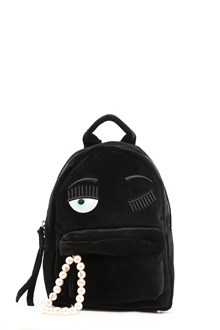 CHIARA FERRAGNI velvet back pack with 'flirting' embroidery and perals