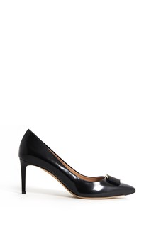 SALVATORE FERRAGAMO Leather 'Fuili' heels with bow and gold accents