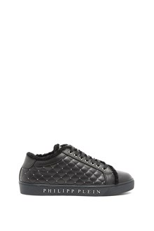 PHILIPP PLEIN leather sneaker with inner fur and skull stud