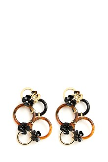 MARNI metal circle and flowers earrings