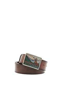 DSQUARED2 leather belt with logo buckle