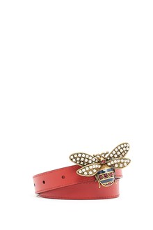 GUCCI Leather belt with jewel 'bee'