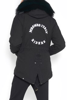 MR & MRS ITALY embroidery canvas short parka with striped wool lining