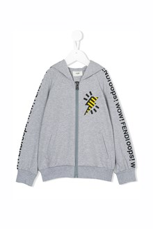 FENDI KIDS Hooded zipped sweatshirt with logo prints
