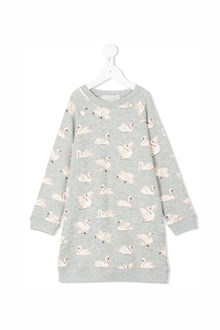 STELLA MCCARTNEY KIDS 'Leona' long sleeves dress with 'Swans' prints
