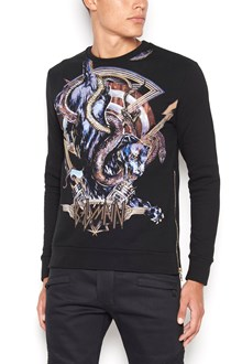 BALMAIN crew neck cotton sweatshirt with 'panthere' print and side zip