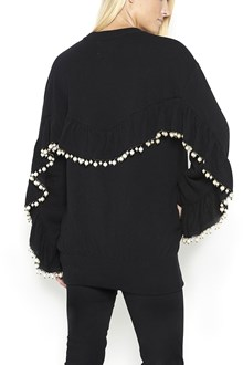 LANEUS wool crew neck sweater with pearls on back