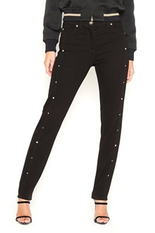 VERSACE Cotton black jeans with studs