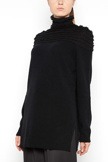 VALENTINO Wool turtle-neck with silk ruffles on neck