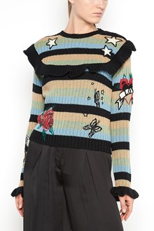 VALENTINO Virgin wool sweater with ruffles and embroidery