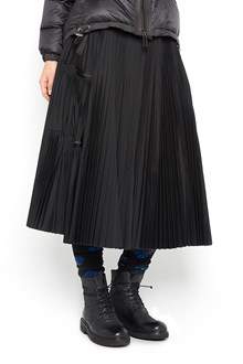 SACAI Cotton fabric pleated skirt with zipper