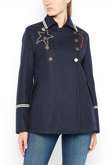 VALENTINO Wool peacoat tattoo embroidered jacket