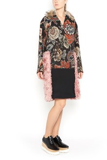 STELLA MCCARTNEY Wool eco-fur coat with 3/4 brocade