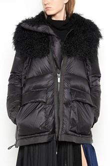 SACAI Oversized feather down jacket with mangolia collar and pockets