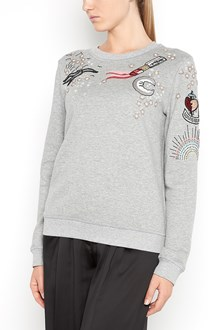 VALENTINO Cotton sweater with tattoo embroidery