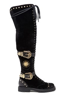 FAUSTO PUGLISI Velvet thigh high boots with gold buckles and studs