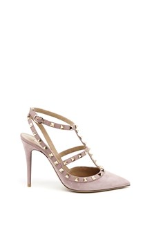 "VALENTINO GARAVANI ""rockstud"" suede decollettè with buckles and studs"