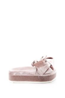 JOSHUA SANDERS 'Flamingo' velvet slippers with bow