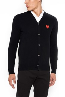 COMME DES GARÇONS PLAY wool cardigan with heart patch