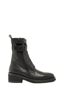 ANN DEMEULEMEESTER leather ankle boot with buckles and lace