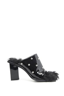 MARQUES ALMEIDA studded patent leather sandals with fur inside